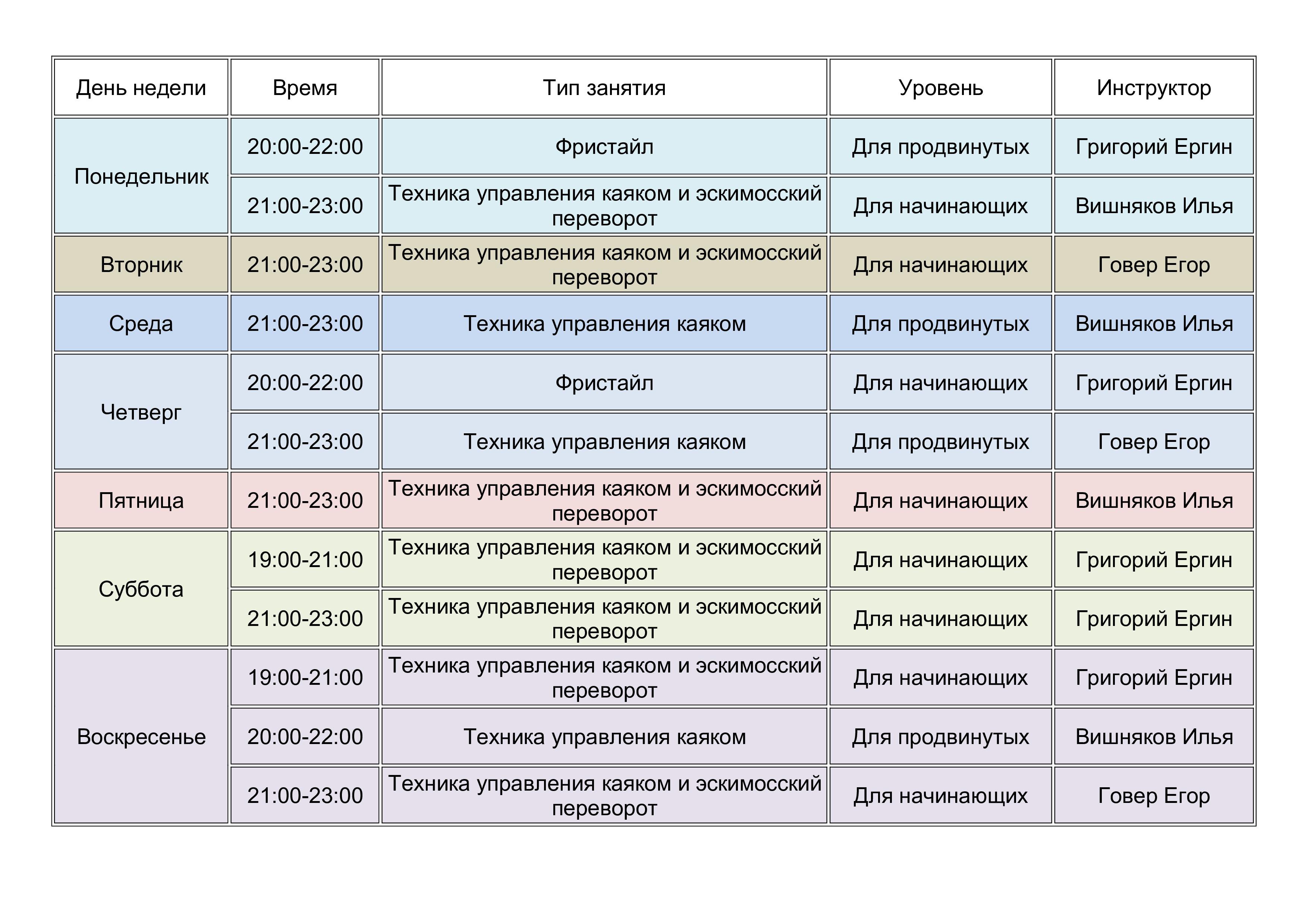 Расписание тренировок в бассейне «Экран» на 2021 год ...